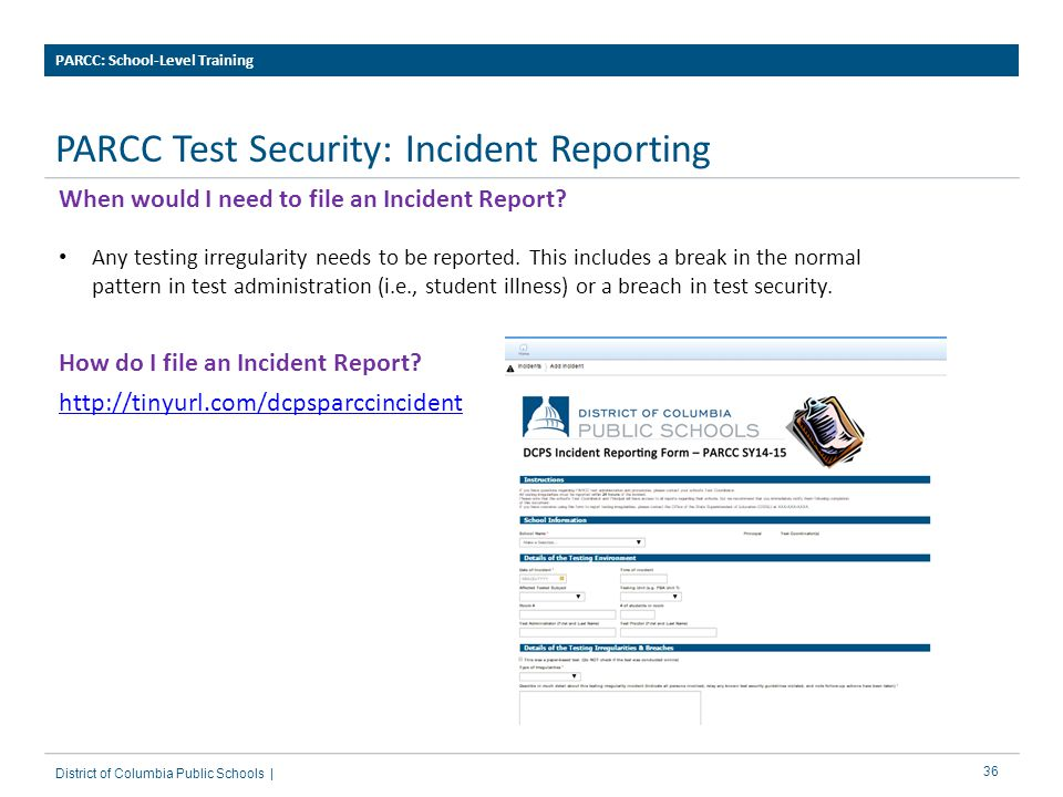PARCC Test Security: Incident Reporting