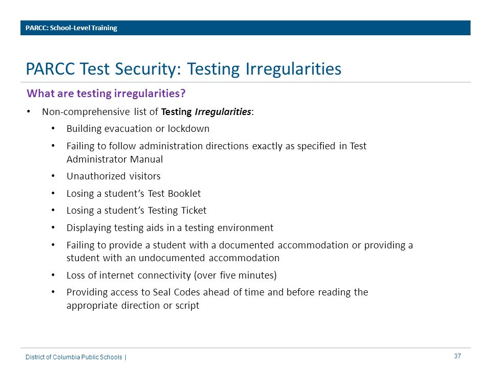 PARCC Test Security: Testing Irregularities