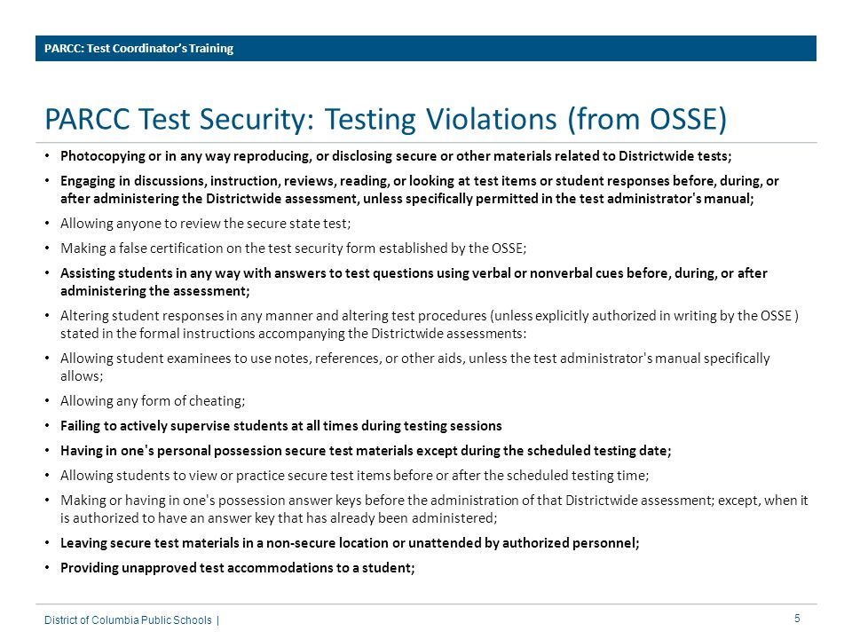 PARCC Test Security: Testing Violations (from OSSE)