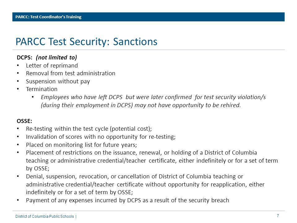 PARCC Test Security: Sanctions
