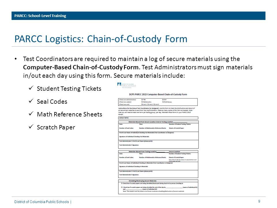 PARCC Logistics: Chain-of-Custody Form