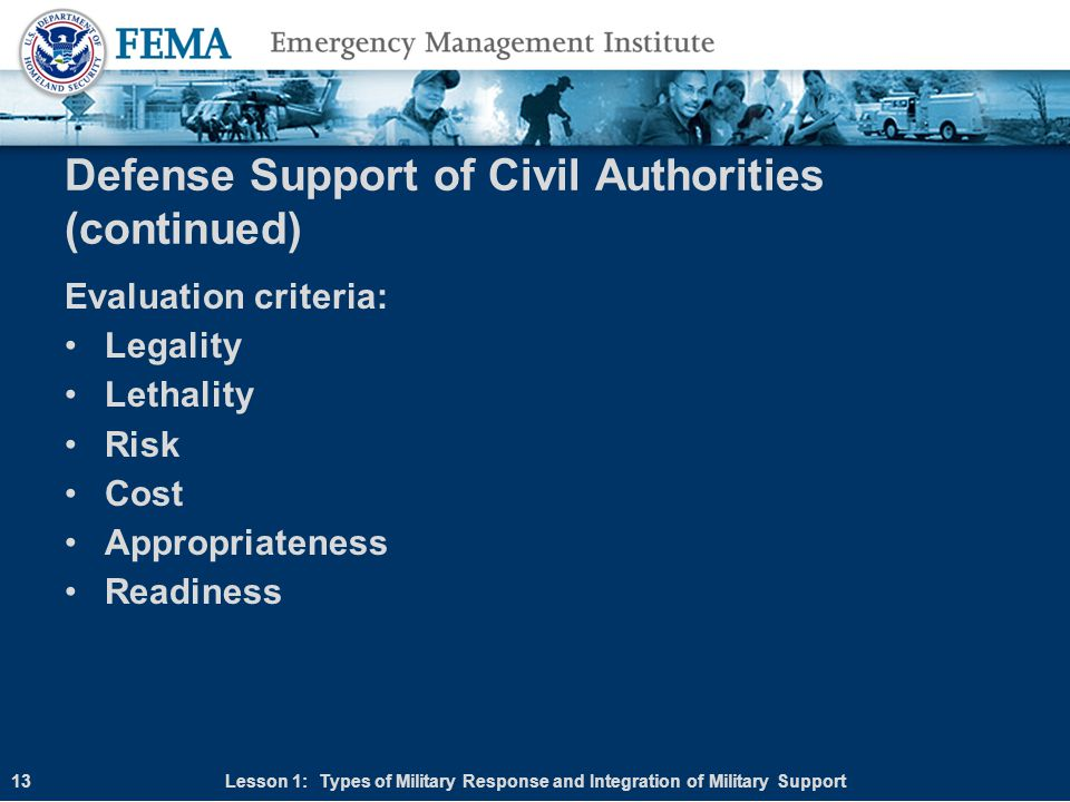 Defense Support of Civil Authorities (continued)