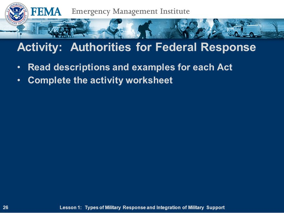 Activity: Authorities for Federal Response