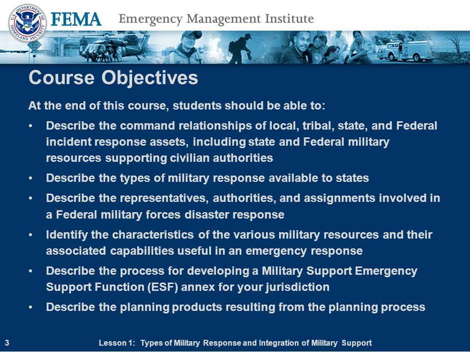 Course Objectives At the end of this course, students should be able to: