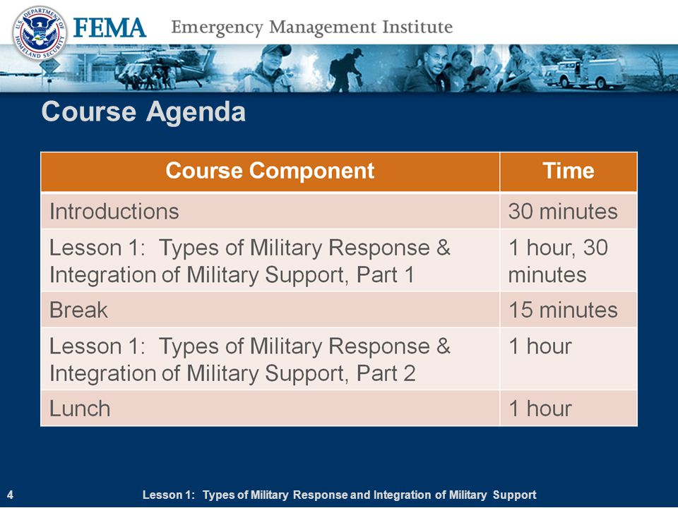 Course Agenda Lesson 1: Types of Military Response and Integration of Military Support 4