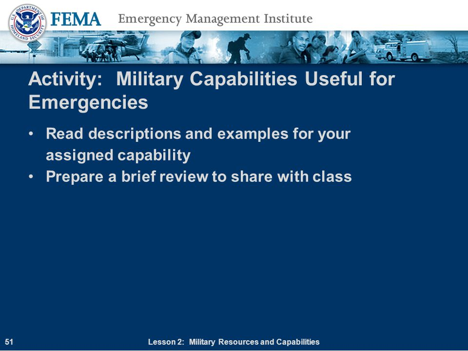 Activity: Military Capabilities Useful for Emergencies