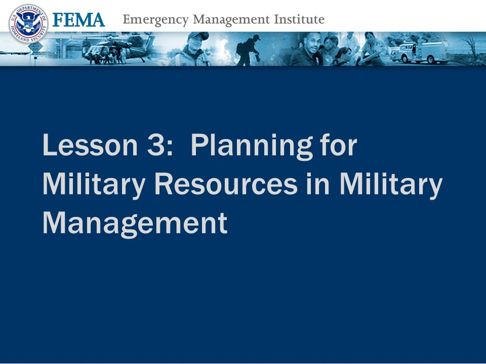 Lesson 3: Planning for Military Resources in Military Management