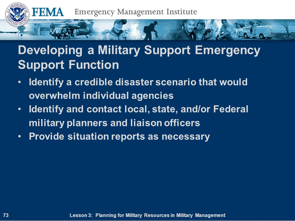 Developing a Military Support Emergency Support Function