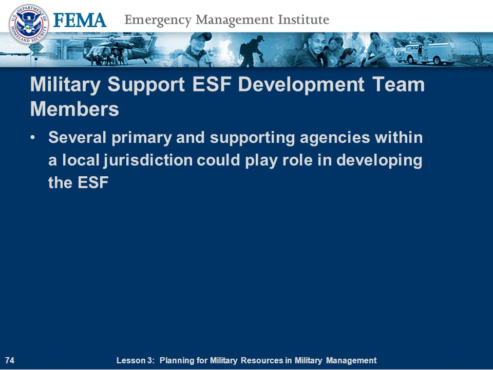 Military Support ESF Development Team Members
