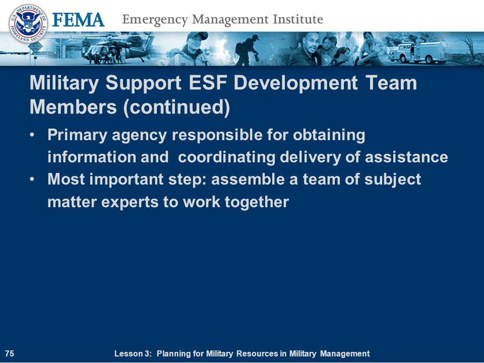 Military Support ESF Development Team Members (continued)