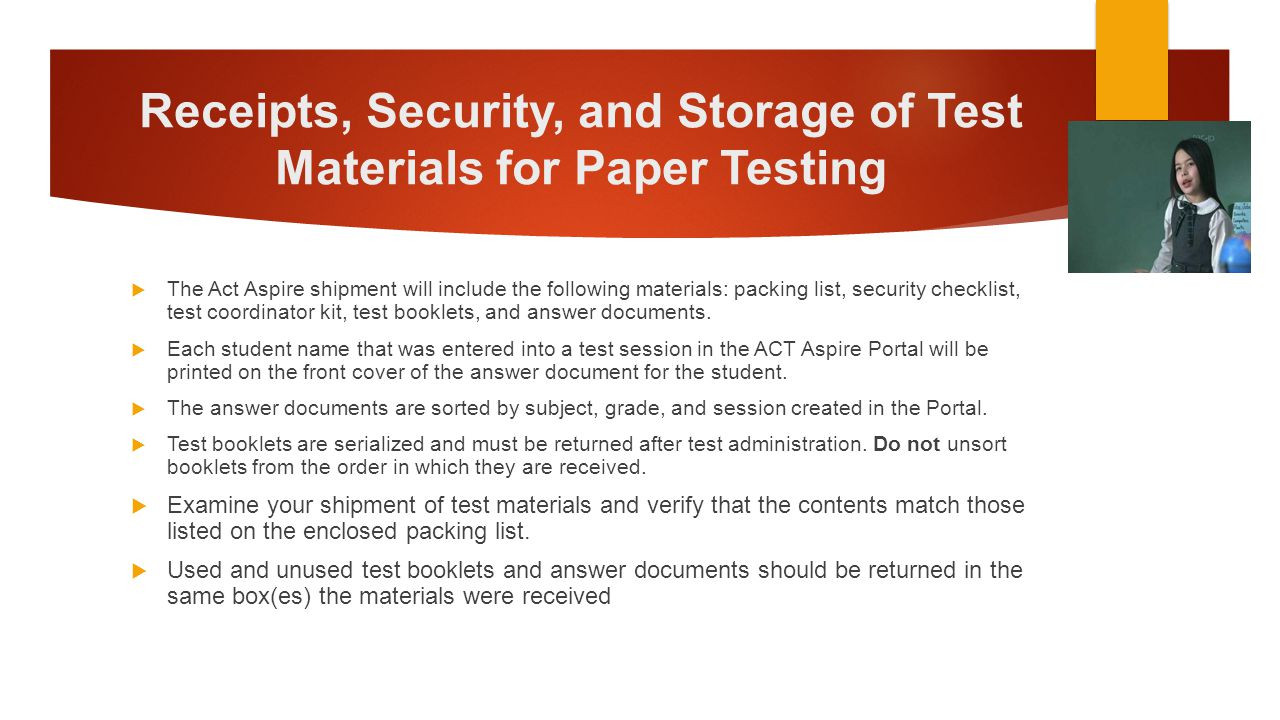 Receipts, Security, and Storage of Test Materials for Paper Testing