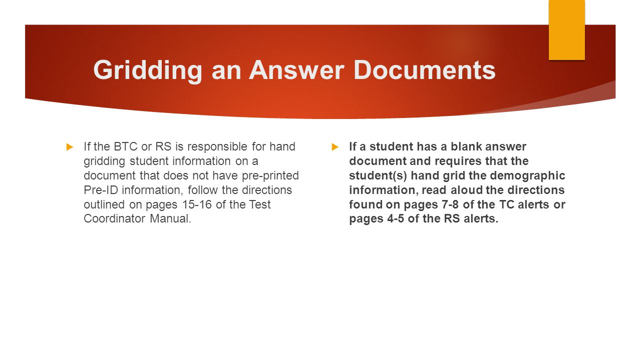 Gridding an Answer Documents