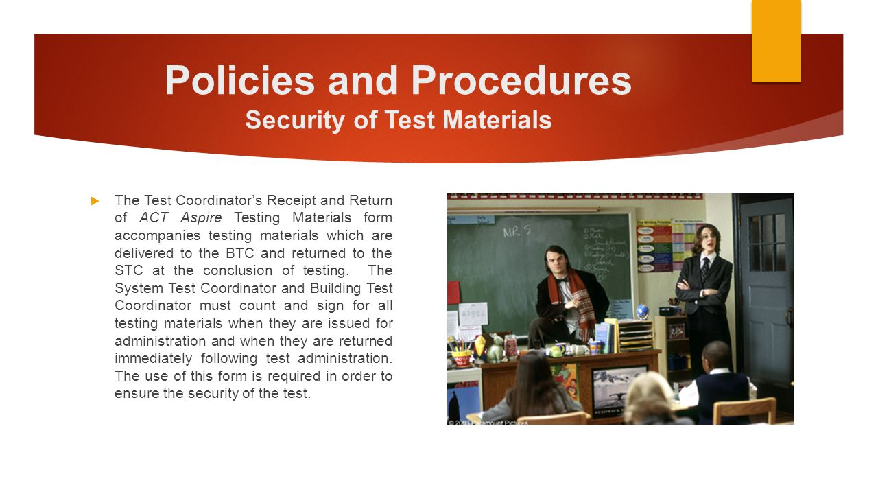 Policies and Procedures Security of Test Materials