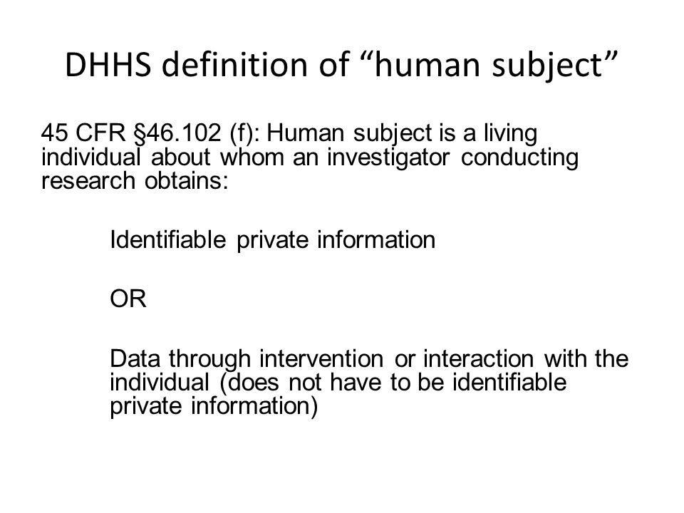 DHHS definition of human subject