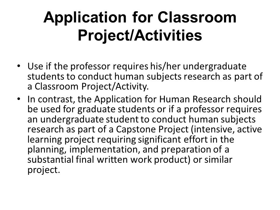 Application for Classroom Project/Activities