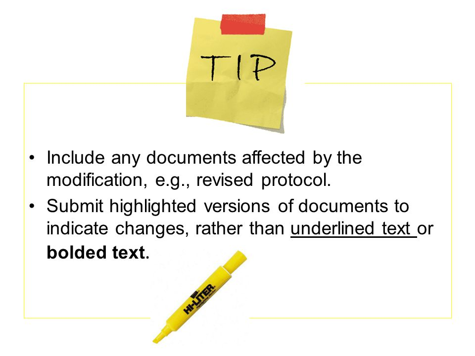 Include any documents affected by the modification, e. g