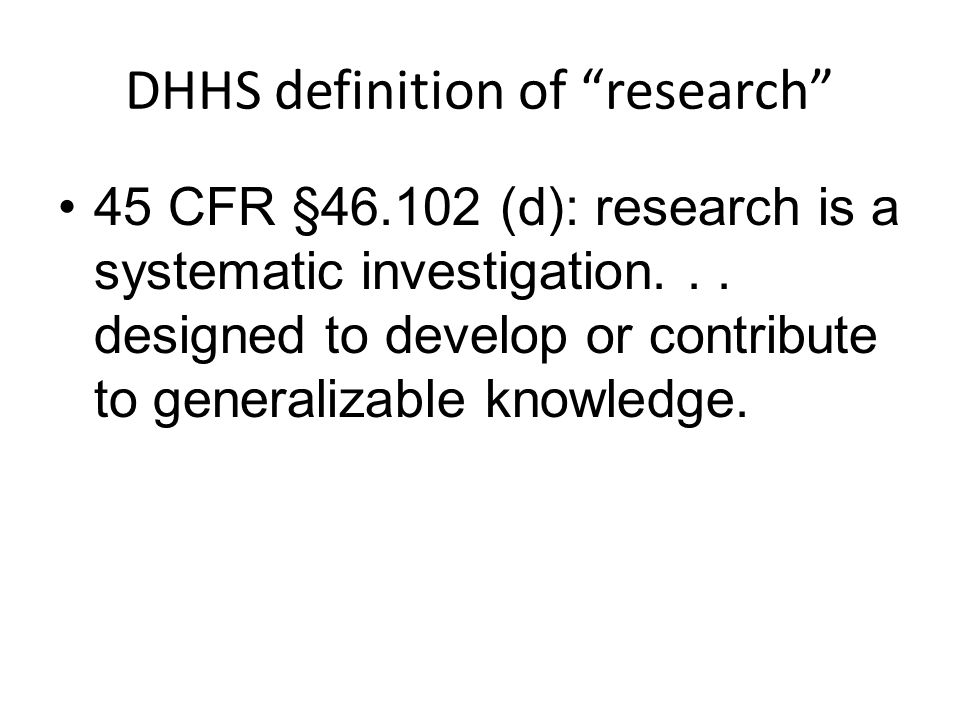 DHHS definition of research