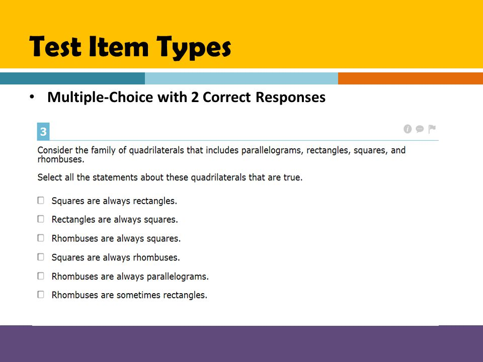 Test Item Types Multiple-Choice with 2 Correct Responses