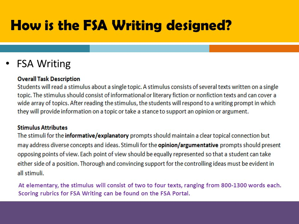 How is the FSA Writing designed