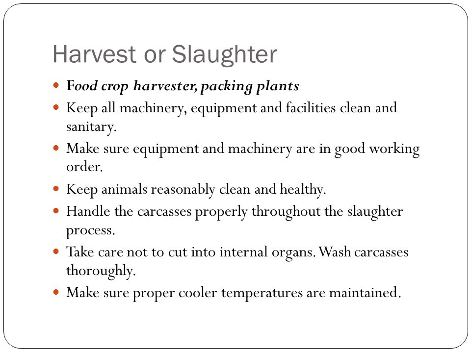 Harvest or Slaughter Food crop harvester, packing plants