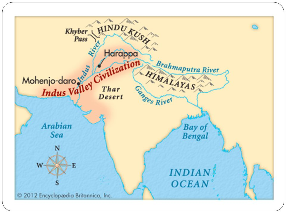 Point out the Himalayas and the Hindu Kush and that they separate the Indian Subcontinent from the rest of Asia