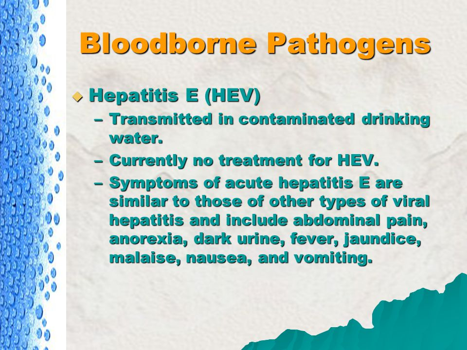 Bloodborne Pathogens Hepatitis E (HEV)