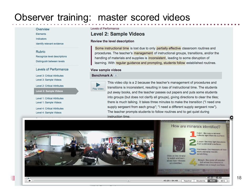 Observer training: master scored videos