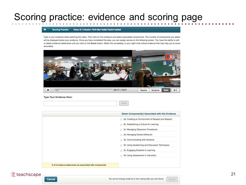 Scoring practice: evidence and scoring page