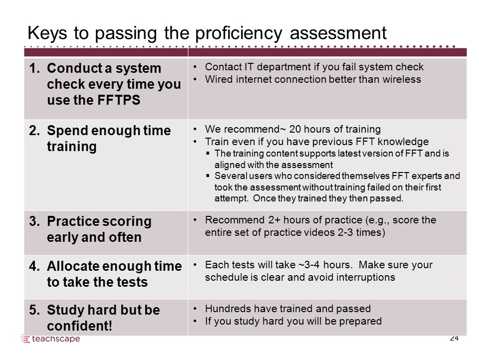 Keys to passing the proficiency assessment
