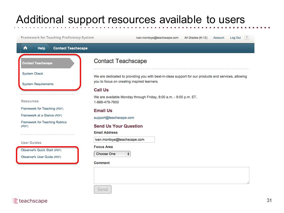 Additional support resources available to users