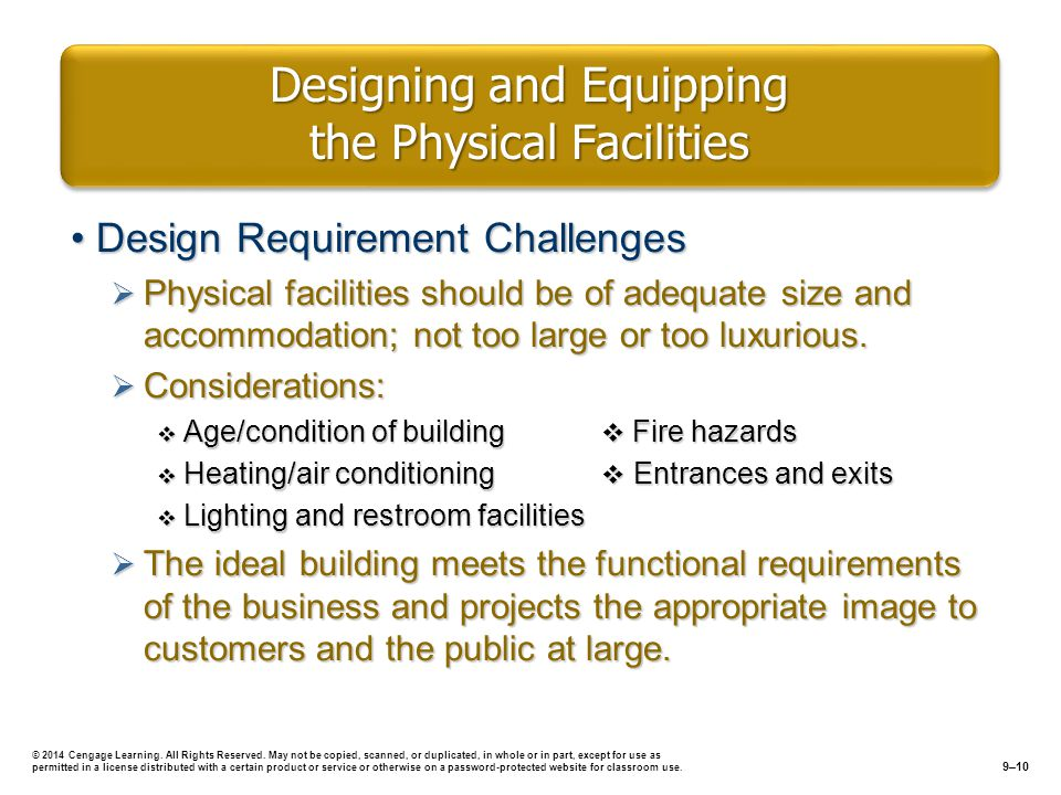 Designing and Equipping the Physical Facilities