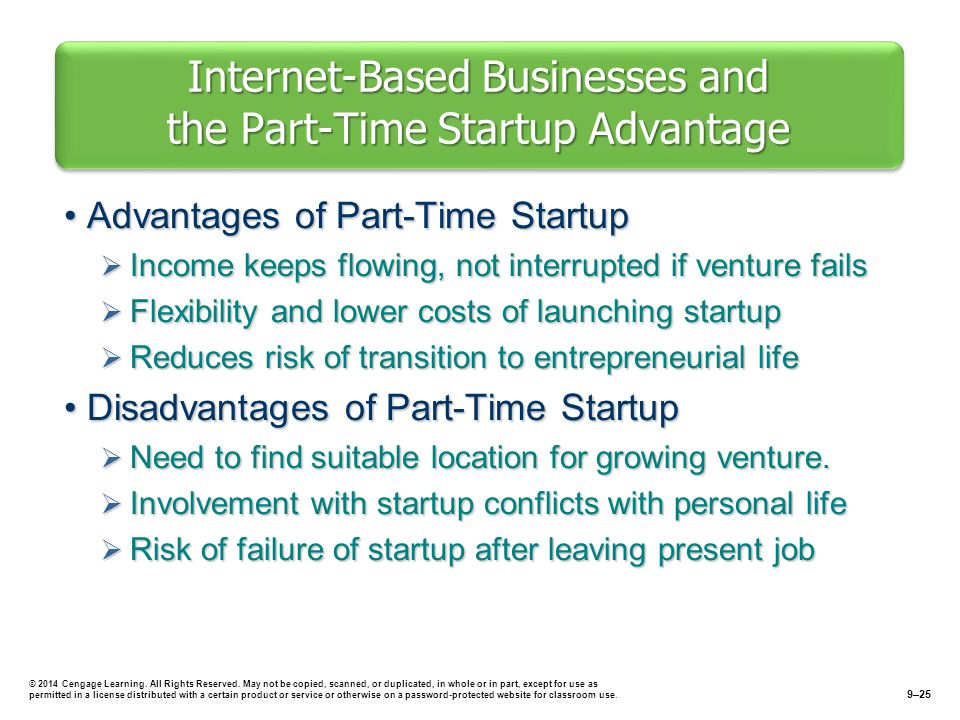 Internet-Based Businesses and the Part-Time Startup Advantage