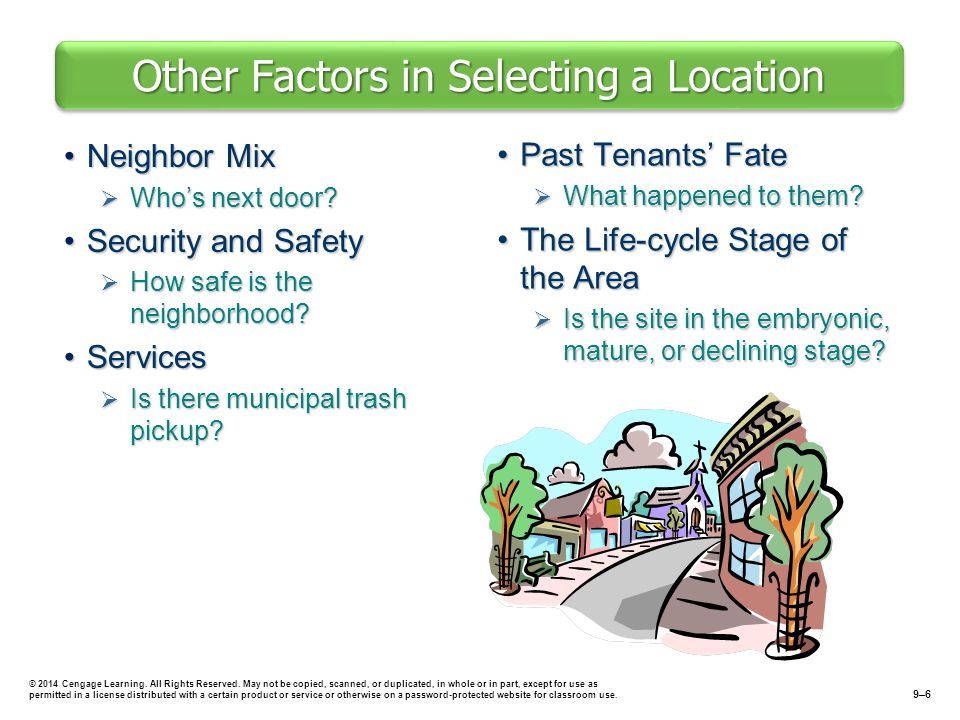 Other Factors in Selecting a Location