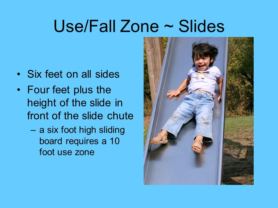 Use/Fall Zone ~ Slides Six feet on all sides