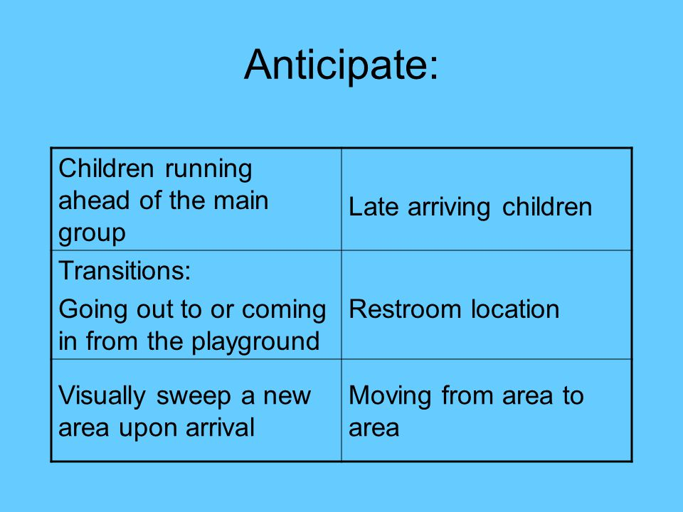 Anticipate: Children running ahead of the main group