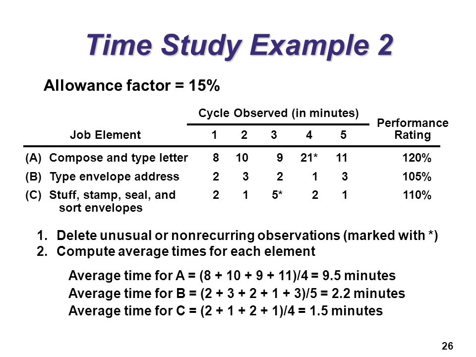 Time Study Example 2 Allowance factor = 15%