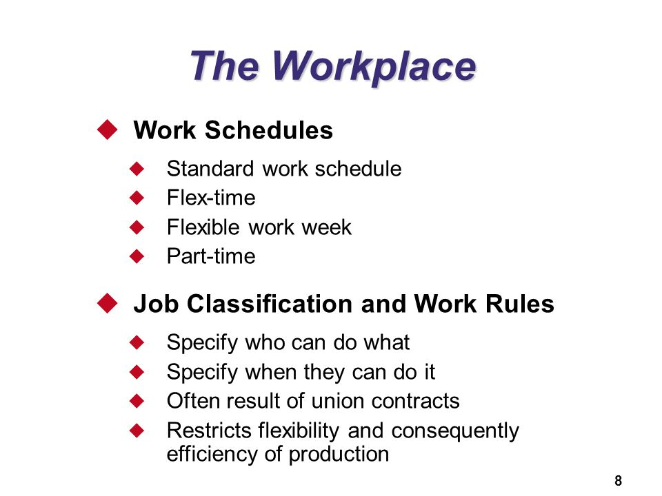 The Workplace Work Schedules Job Classification and Work Rules