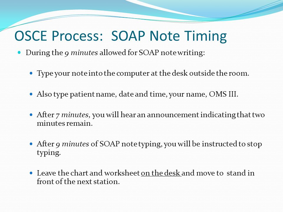 OSCE Process: SOAP Note Timing
