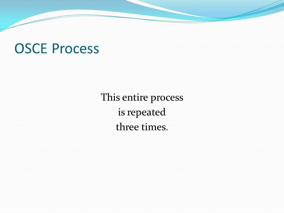 OSCE Process This entire process is repeated three times.