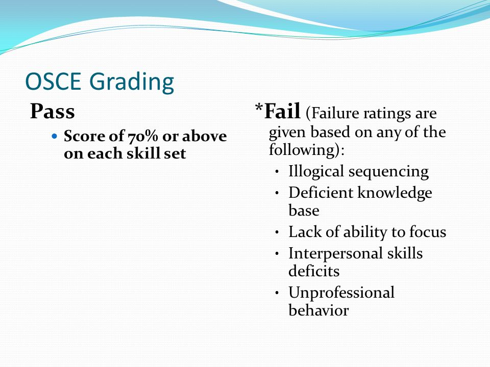 OSCE Grading Pass. Score of 70% or above on each skill set. *Fail (Failure ratings are given based on any of the following):