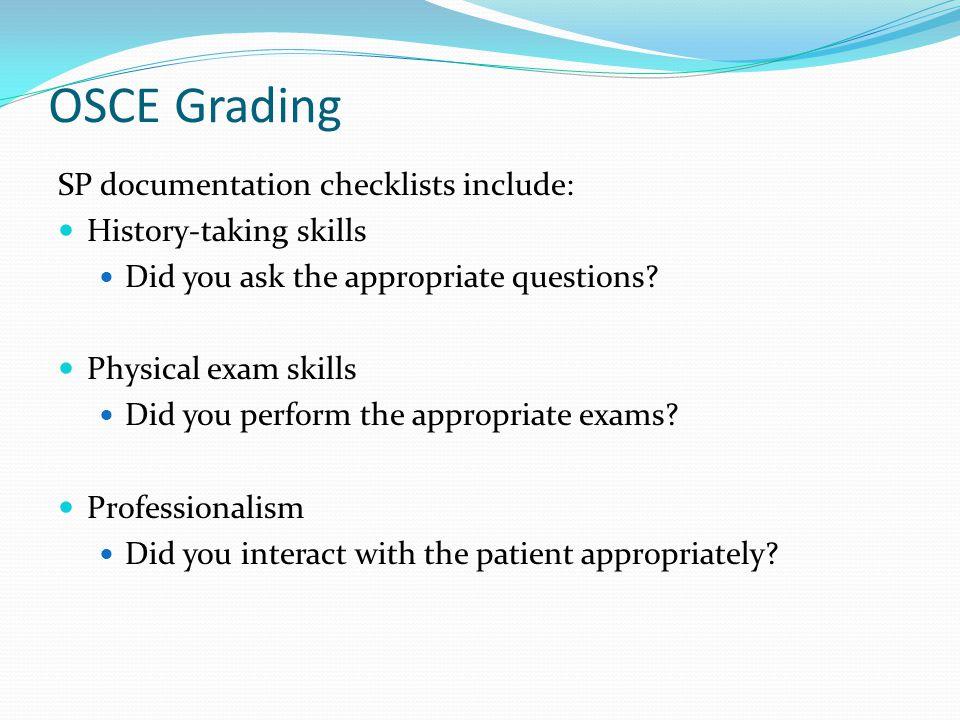 OSCE Grading SP documentation checklists include: