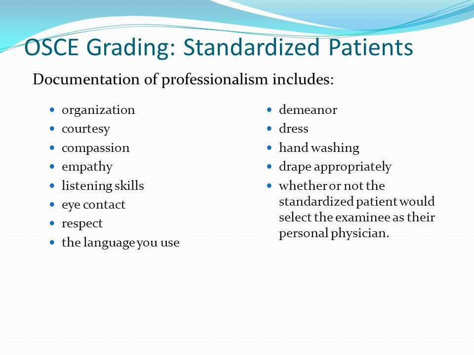 OSCE Grading: Standardized Patients