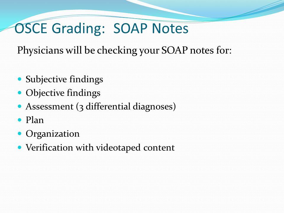 OSCE Grading: SOAP Notes