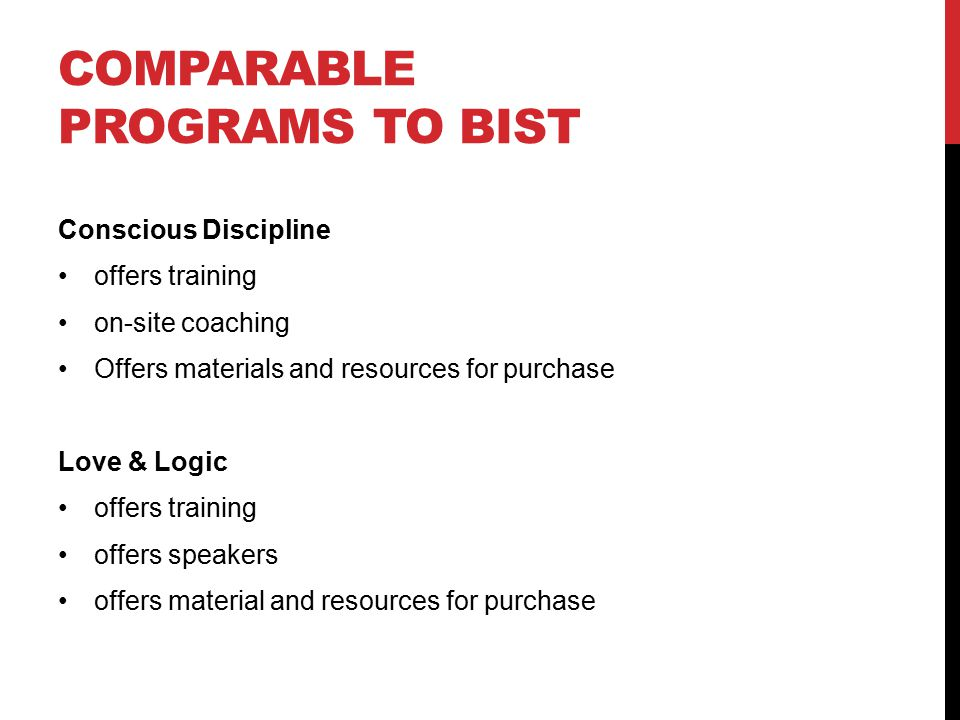 Comparable programs to bist