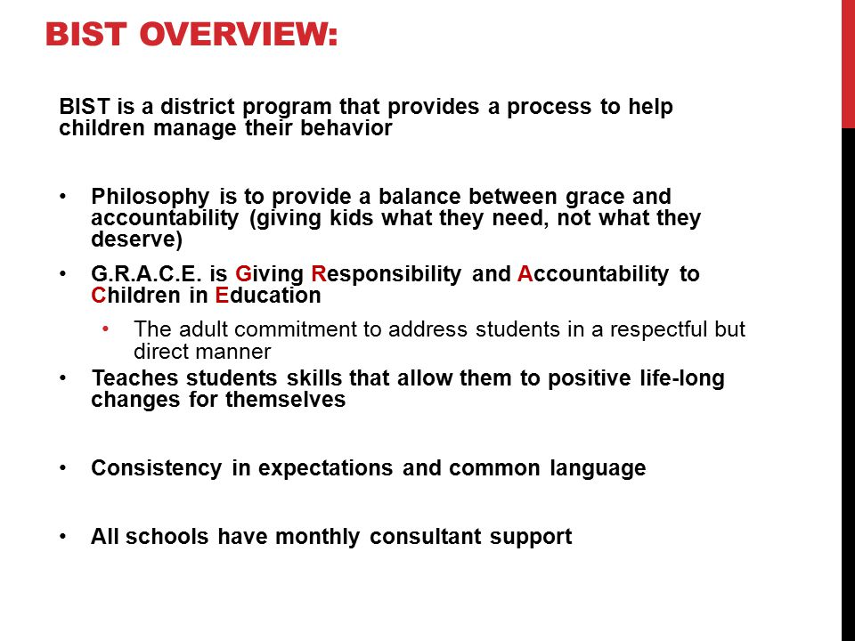 BIST Overview: BIST is a district program that provides a process to help children manage their behavior.