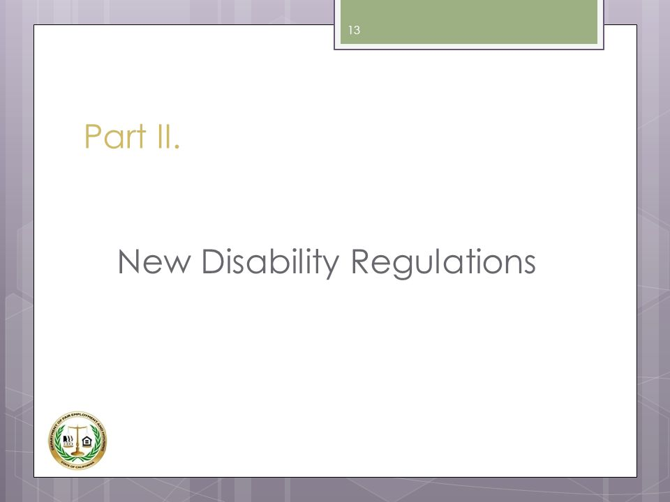 New Disability Regulations