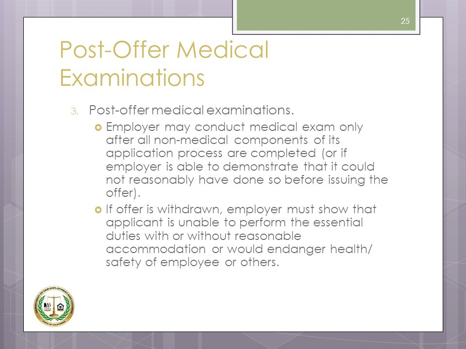 Post-Offer Medical Examinations