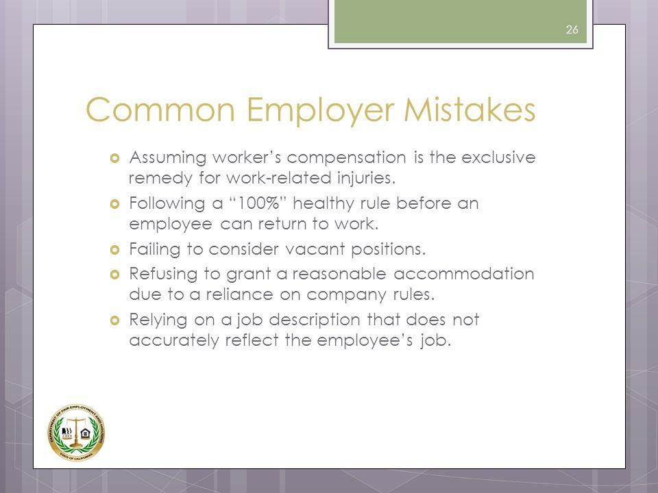 Common Employer Mistakes