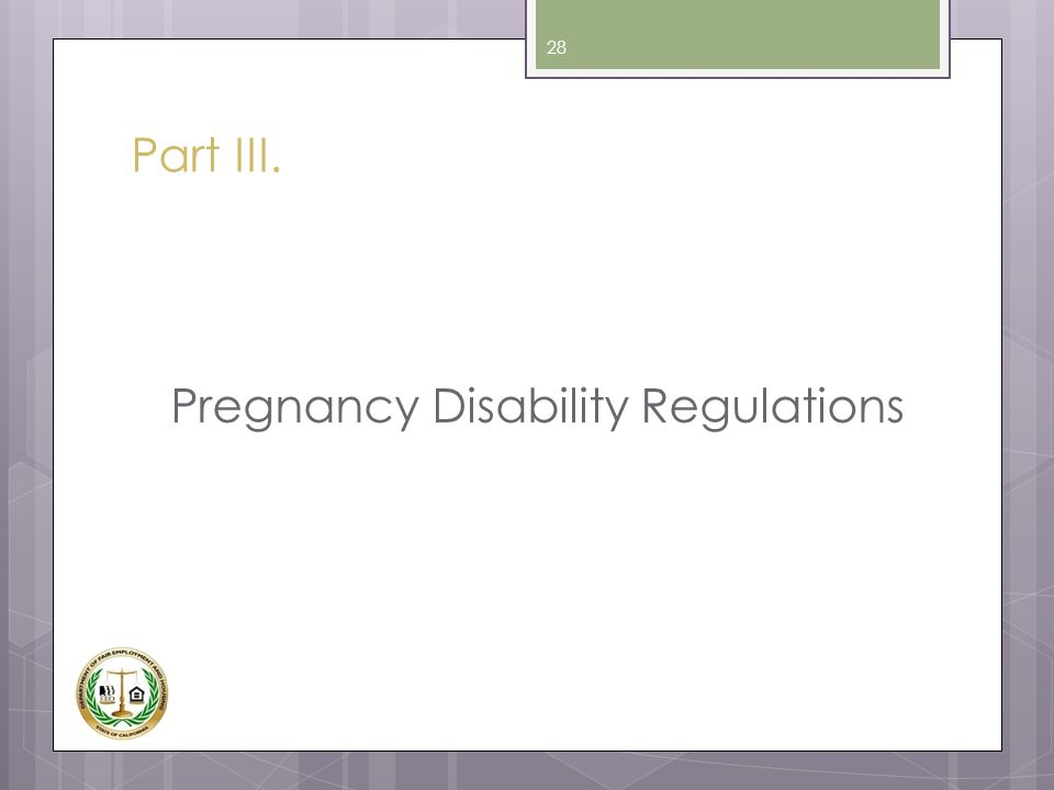 Pregnancy Disability Regulations