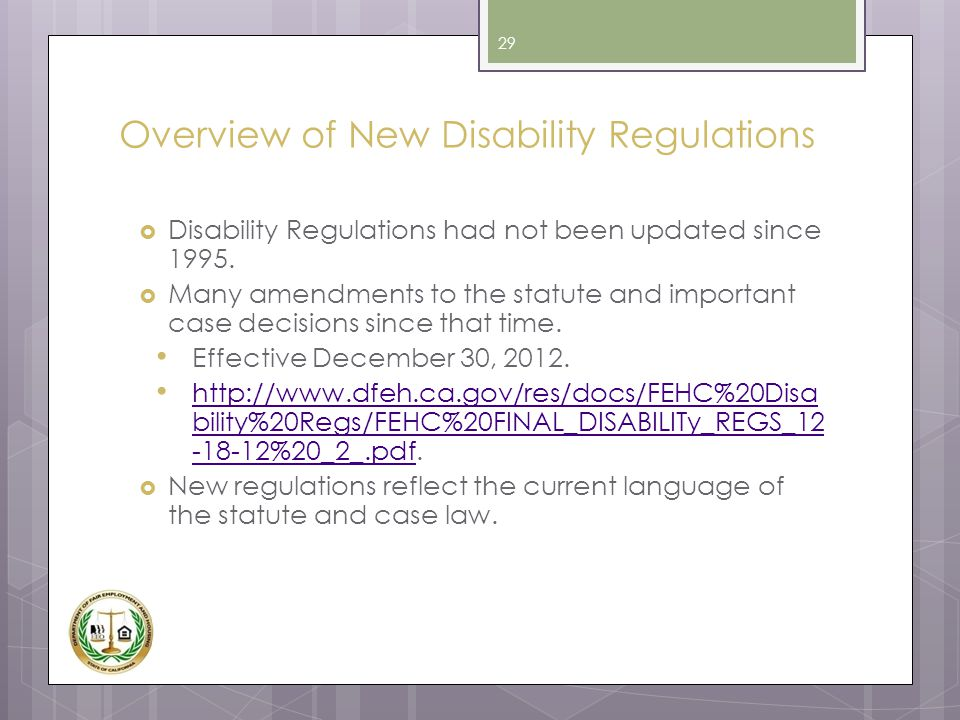 Overview of New Disability Regulations